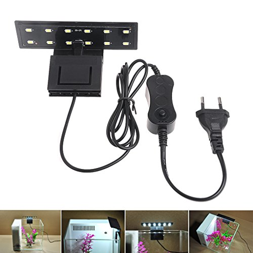 Cuigu Kit éclairage LED Clip pour Aquarium, Lampe d'aquarium LED 12 LEDs pour Aquarium, éclairage Blanc AC 220 V Plug EU