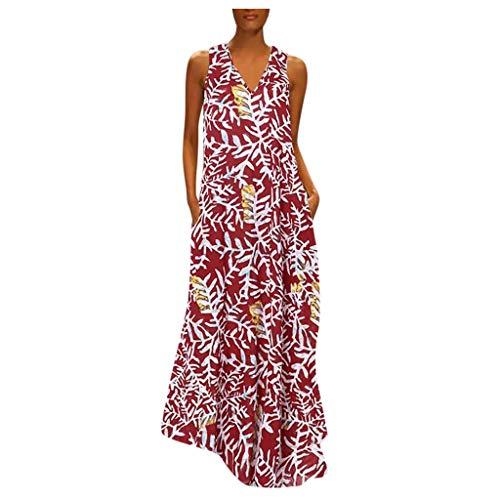 Fcostume - Vestido largo bohemio para mujer, cuello en V, estampado de talla grande, vestido de cctel, rojo, 42