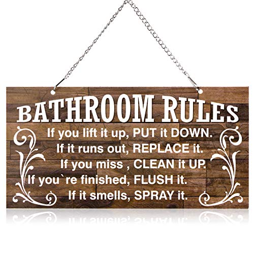 Bathroom Rules Wall Decor Metal Hanging Rustic Bathroom Rules Door Plaque Decor Sign Vintage Bath Metal Wall Art, If It Smells Spray It. Sign Plaque Wall Decoration (Brown and White,10 x 5 Inches)