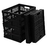 Rinboat Caisse Pliable Boîte Empilable Rectangulaires Plastique, Noir, Lot de 4