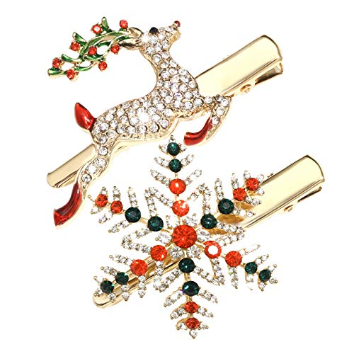 Christmas Hair Pins for Women Girls Rhinestone Crystal Snowflake Reindeer Wreath Xmas Tree Hair Clips Barrettes Accessories Festive Holiday Party Favors (snowflake reindeer christmas hair pins)