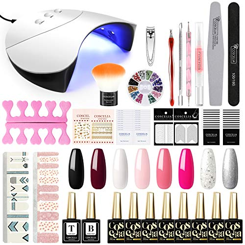COSCELIA 36W UV/LED Lámpara Secador de Uñas 8PCS Kit Unas de Gel Semipermanente Soak Off 10ML Manicura Pedicura Kit Top Base Gel