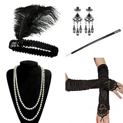 Ebeta 1920s Flapper Accesorios Años 20 Disfraz Gatsby Conjunto de Flapper Acessorios (Diadema Collar de Perlas Guantes Boquilla) (B)