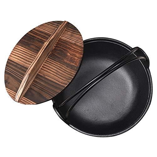 Cocotte En Fonte De Style Japonais Avec Couvercle En Bois Et Revêtement En émail De Qualité