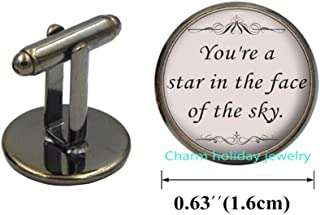 Song Lyrics Quote Cufflinks Cuff Links-Jewelry Gift for Her-You're a Star in The Face of The Sky-Literature Cufflinks-Inspirational Jewelry-#275