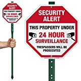 """SmartSign """"Security Alert - This Property Under 24 Hour Surveillance, Trespassers Will Be Prosecuted"""" Sign for Lawn 