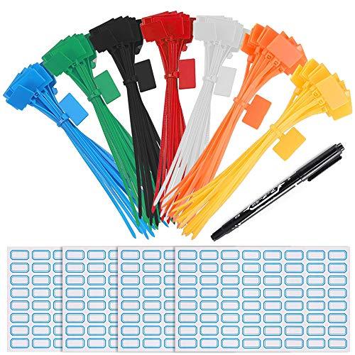XHXSTORE 250 Stück Kabelbinder Tags bunt Kabelbinder Etiketten Selbstsichernde Kabelbinder Marker mit Markerstiften Kabel Etiketten für Kabel Management Markieren 6 Zoll 7 Farben