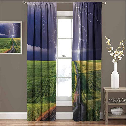 Nature Room Darkened Curtain Summer Storm About to Appear with Flash on The Field Solar Illumination Energy Theme Insulated Room Bedroom Darkened Curtains W96 x L84 Inch Green Blue