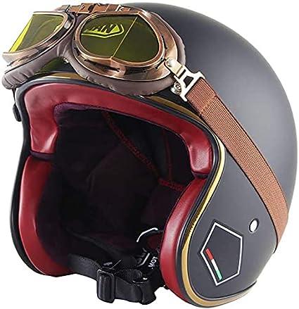 Casco de Moto Vintage Motorcycle Helmet for Men & Women, Classic Retro Open Face Design Lightweight Dot Certified for Motorbike Cruiser Moped Scooter ATV