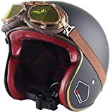 LWAJ Casco de Moto Cara Abierta, Adulto Retro Mofa Jet Vintage Cascos Medios Bobber Chopper Scooter Cruiser Piloto Ciclomotor Vespa Harley Visor Dot Homologado