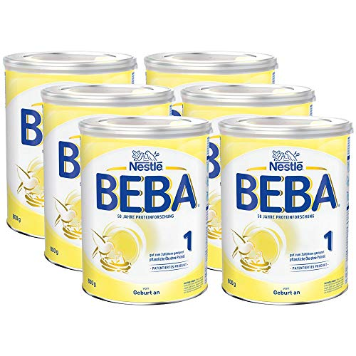 Nestlé BEBA Anfangsmilch 1, Anfangsnahrung von Geburt an, 6er Pack (6 x 800g)