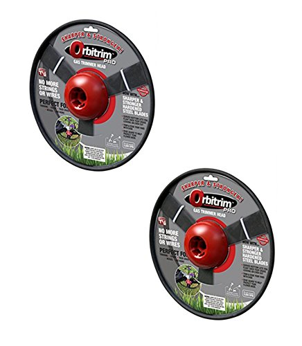 Orbitrim 2 Pack of Pro No More Strings or Wires Gas Trimmer Heads - Sharper and Stronger! (Steel Blades) # RM101106-2PK