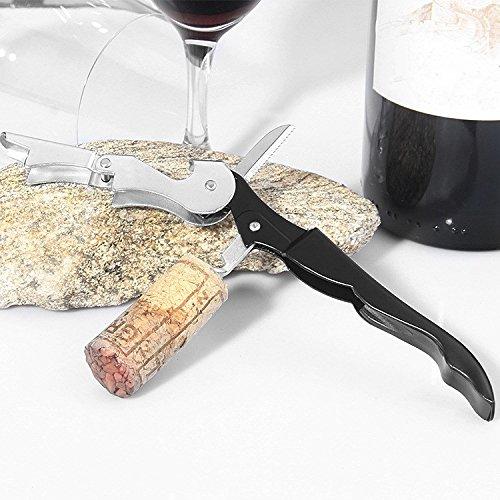 Ouvre-bouteille de vin, décapsuleur multifonction en acier inoxydable (Color : Noir)