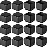 Anwenk 1''x1' Square Chair Leg Floor Protectors with Felt Pads 1inch 1 in Square Table Leg Protectors Chair Leg Caps Small, 16Pack, Black