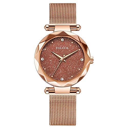 Xlin Reloj De Mujer Reloj New Star Star Simple Temperament Casual Fashion Ladies Net with Tendent Watch (Color : Purple)