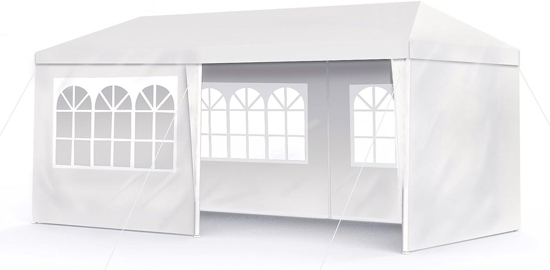 Sekey 3x6m Garten Wasserdicht Pavillon Gartenpavillon Verstellbare Gartenzelt Beine, für Garten Party Hochzeit Picknick, UV30+,Seitenwnden,Wei