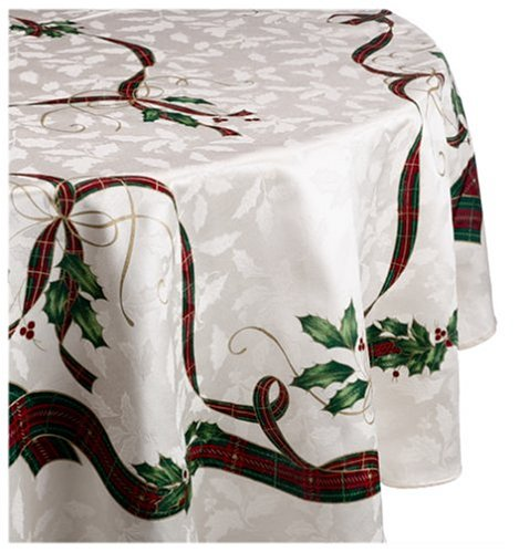 Lenox Holiday Nouveau Tablecloth, 70-Inch Round, Ivory