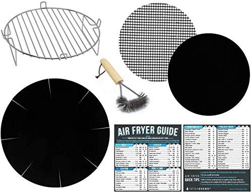 Air Fryer 8 inch Rack Accessories Set for Ninja, Power Airfryer Oven, Chefman, Ultrean, Maxi-Matic, Avalon Bay and More – Set of 7 with Heat Resistant Mat for Airfryer and Magnetic Cheat Sheets
