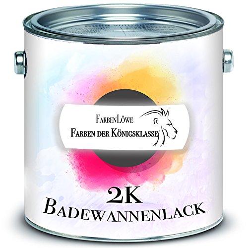 FARBENLÖWE 2K Badewannenbeschichtung MADE IN GERMANY Badewannenlack für Keramik, Emaille, Acryl, Fliesen, Badewanne, Porzellan, Stahl (kein Edelstahl), Fliesen, Kunststoff, GFK (2,5 L, Weiß)