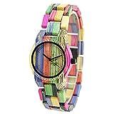BEWELL 105DL Frauen Analoganzeige Armbanduhr Japanische Quarzwerk mit Bunten Bambus Uhrenarmband Extrem Einfach Einstellbar (Mischfarbe 1)