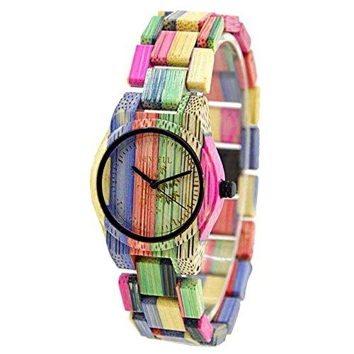 BEWELL Frauen Armbanduhr Analoge Japanische Bewegung mit Bambus Uhrenarmband Leichte 105DL