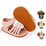 BENHERO Infant Baby Girls Sandals, Premium Soft Rubber Sole Anti-Slip Summer Toddler Flats First Walkers Shoes6-12 Months Infant S/pink)