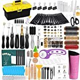 Leather Working Tools Kit, Hand Leather Kit with Instructions, Quality Toolbox, Rotary Cutter, Waxed Thread, Leather Craft Stamping Tools, and Other Leather Working Supplies for Beginners Professional