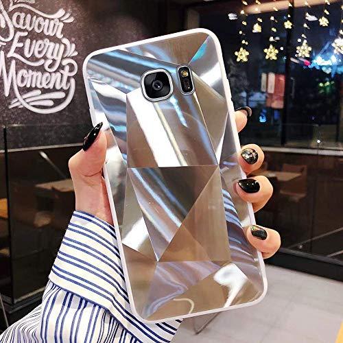 Uposao Kompatibel mit Samsung Galaxy S7 Hülle Spiegel Schutzhülle Bling Glänzend Glitzer Kristall Strass TPU Silikon Handyhülle Weiche Silikon Rückseite Glitzer Hülle Case Tasche,Silber