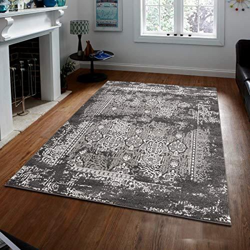 Msrugs Zara Collection Moderner Übergangs-Teppich 3'x5' 200-grau-dunkelgrau