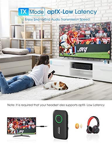 Bluetooth 5.0 Transmitter and Receiver with Low Latency, Dual Link, CVC 8.0 Noise-Cancelling, Bluetooth Transmitter for TV/Home Sound System 6