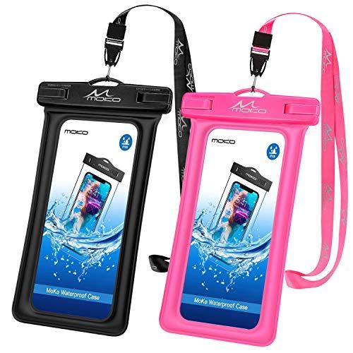 MoKo wasserdichte Hülle 2 Stück, Schwimmende Handy Tasche TPU Schutzhülle Universal Hülle IPX8 Wasserfeste Floating Case für iPhone 11/11 Pro/X/8 Plus/7/6s, Samsung S10/S10 Plus/S10e - Schwarz+Pink