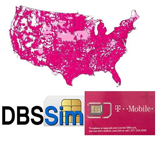 DBS Wiederverwendbare SIM-SIM für USA – unbegrenzte Anrufe, SMS und 4G LTE Daten-Streaming, Nano, Micro, Standardgröße