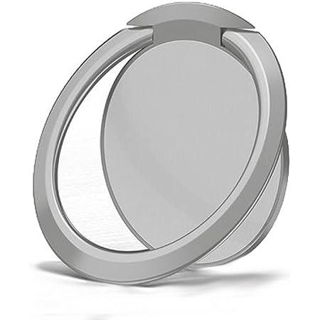 超薄型 亜鉛合金製リングホルダー バンカーリング 落下防止 360度回転 ホールドリング iPhone Android多機種対応 改良型 (円形 シルバー)