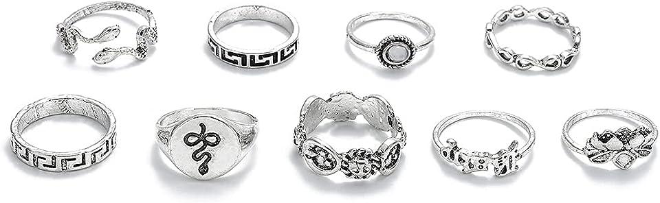 Vintage Knöchelringe Set Silber Schlangengelenk Knöchel Ring Blume stapelbar Ring Edelstein Fingerringe Schmuck für Frauen und Mädchen (9 Stück)