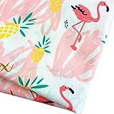 Zaione Flamingos - Tela de algodón 100% con estampado de pájaros para acolchar cojines de retazos, material de costura, álbum de recortes, tela de muñeca, 50 cm x 160 cm de ancho, color rosa