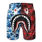 Blue Red Bape Blood Shark Mens Swimtrunks Casual Board Shorts...