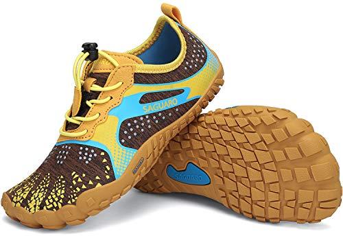 SAGUARO Minimalistas Zapatillas de Trail Running Niños Zapatos de Agua Zapatillas de Deporte Transpirables para Exterior Interior Amarillo Gr.31
