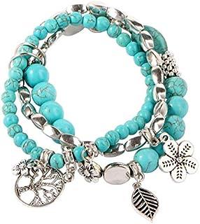 Turquoise Stone Women's Bracelets Silver Plated Vintage Pendants Bracelets & Bangles-SL16