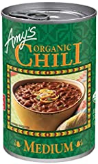 Twelve - 14.7 oz. cans of Amy's Organic Medium Chili the whole family will love Organic red beans and made-from-scratch tofu simmered in a Mexican-style broth Thick and flavorful in taste Vegan, Certified Kosher, Gluten Free, Dairy and Lactose Free, ...