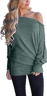 YOcheerful Women Off Shoulder Shirt Batwing Sleeve Tee Top Autumn Winter Loose Pullover Jumper Top Tunic Blouse