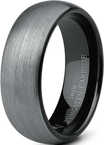 Jstyle Jewelry Tungsten Rings for Men Wedding Band Black Ring 8mm ... (10.5)