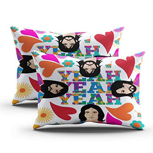 Geeole Hippie Set of 2 Pillow Cases, April 1 2016 Editorial Pop Beatles Cushion Covers, Print Decorative Throw Pillows for Living Room Sofa Bed, 20x36 Inch