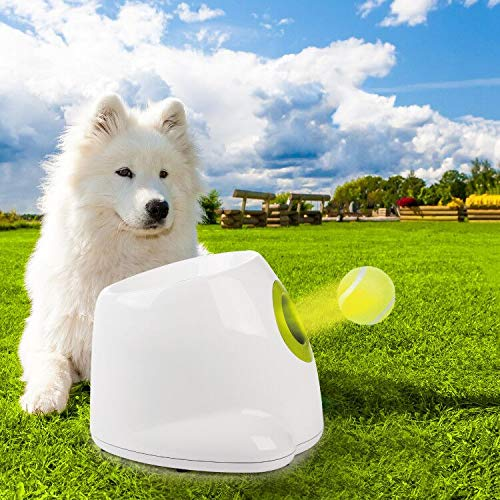 Automatic Ball Launcher Dog Interactive Toy Dog Fetch Toy Pet Ball Thrower Throwing Machine 3pcs x 2'' Tennis Balls Included Mini Style