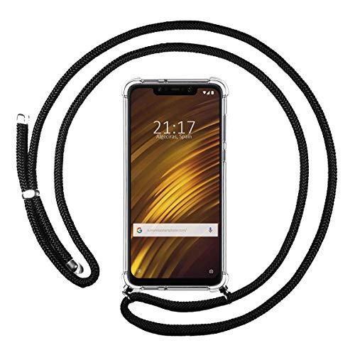Funda Colgante Transparente para Xiaomi Pocophone F1 con Cordon Negro