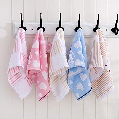 LIFEILONG 5 Toalla de algodón para niños, Suave y sin Pelusa, Toalla de Lavado A7 25x50cm * 5