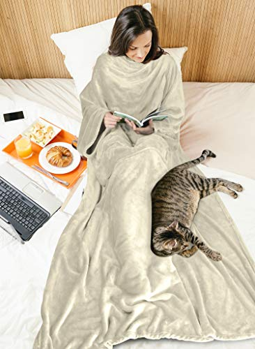Wearable Blanket with Sleeves for Adult Women Men, Extra Soft Warm Cozy Micro Plush Lightweight Fleece Snuggy Body Blanket, TV Wrap Throw Blanket Robe with Pocket for Lounge Sofa Home Office, Latte