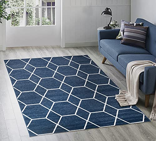 Adiva Rugs Modern Transitional Area Rug with Border, Soft Short Medium Pile, Style Pattern Traditional Carpets, Persian Home Decor, Floor Decoration Mat 2632A (Navy, 5'-3' x 7'-5')