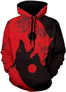 Men's Halloween Wolf Print Long Sleeves Pullover Hoodie Sweatshirt