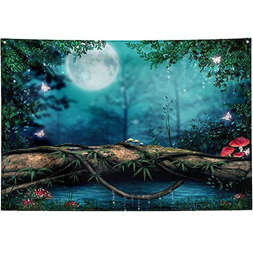 IUBBKI Fairy Tale Fairytaleest Tapestry Wall Hanging Magical Mush Magic Butterflies Tree Log Enchanted Pond Wall Tapestry Aesthetic Decoration 90x60 Inch