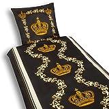 Julido Microfaser Bettwäsche Set 2-TLG 135x200cm Bettdeckebezug + 80x80cm Kissenbezug Bettdecke Reißverschluss Krone Gold